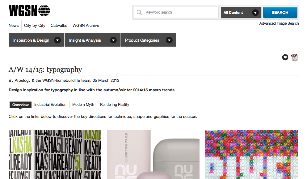 WGSN TYPOGRAPHY REPORT ARBELOGY